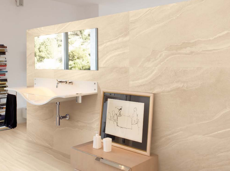 Provenza Indian Beige Lappatto 450×900. (Suitable for main floor tiling also)