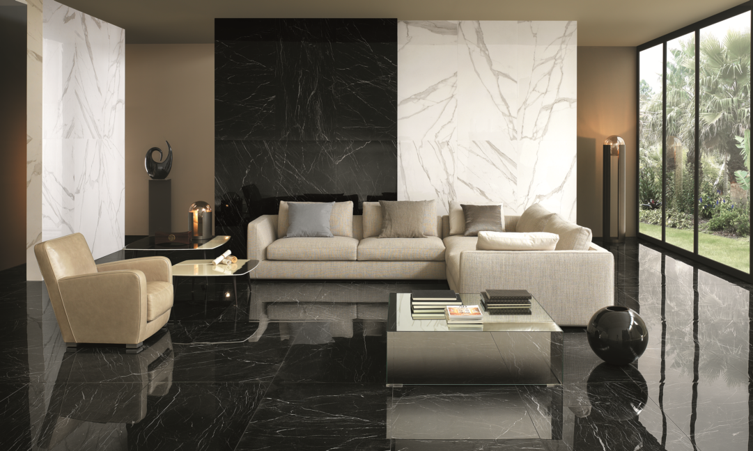 NEW! Wall: Roma Diamond Nero Reale & Statuario 750×1500, Floor: Roma Diamond Nero Reale 750×1500. Also available in 250×750, 600×600 & 750×750