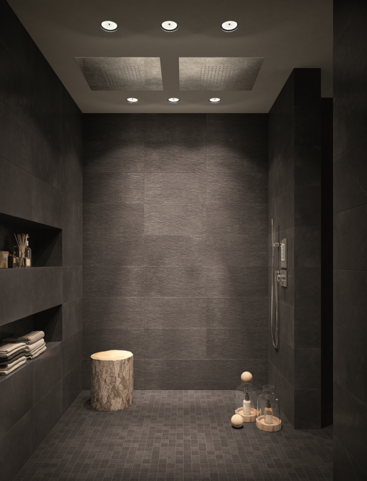 Wall: Maku Dark Matt 300×600, Floor: Maku Macromosaico Dark Out (special order)
