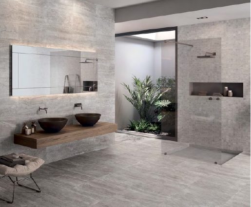 NEW! Floor & Wall: Eterna Silver 300×600, Shower Feature: Eterna Mosaico Silver 300×300