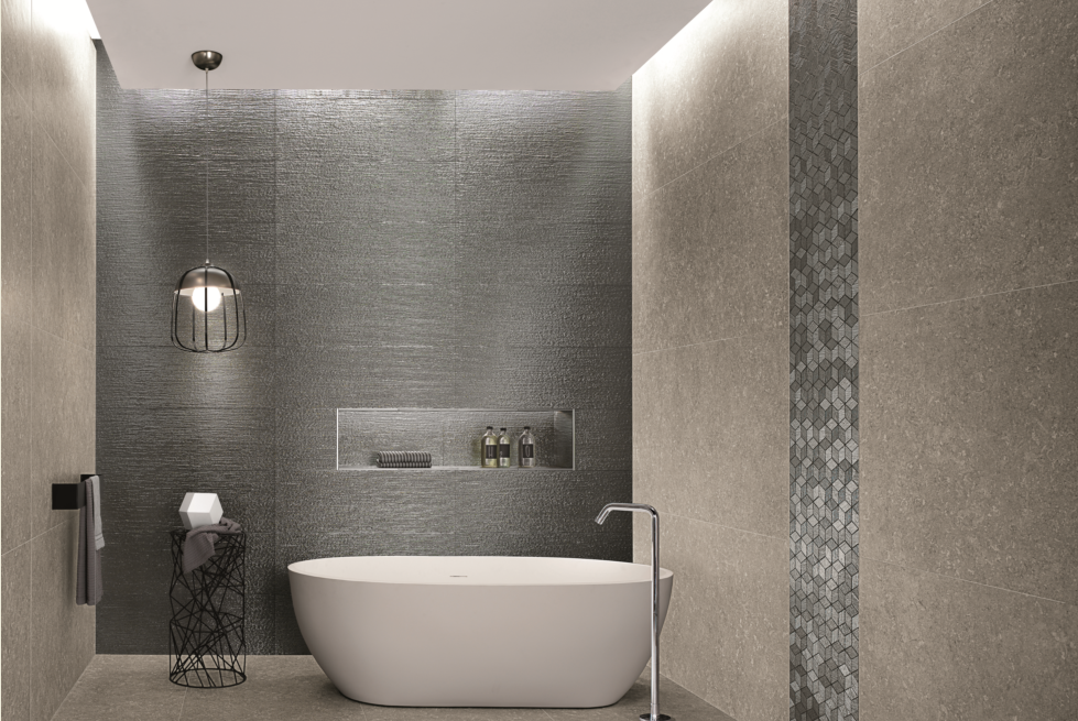 Floor & Wall: Nord Smoke Matt 750×1500, Feature Wall: Lumina Glam Lace Silver 305×915, Strip Feature: Lumina Glam Silver Cube Mosaico 225×260 (Special order item)