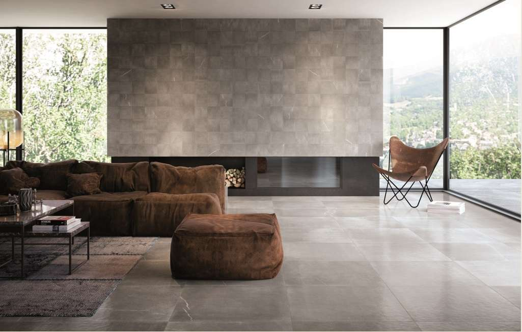 Wall: Maku Grey 300×300 Matt, also available in 250×750, 300×600, 600×600. Floor: Maku Grey 750×750 Satin (Special order)