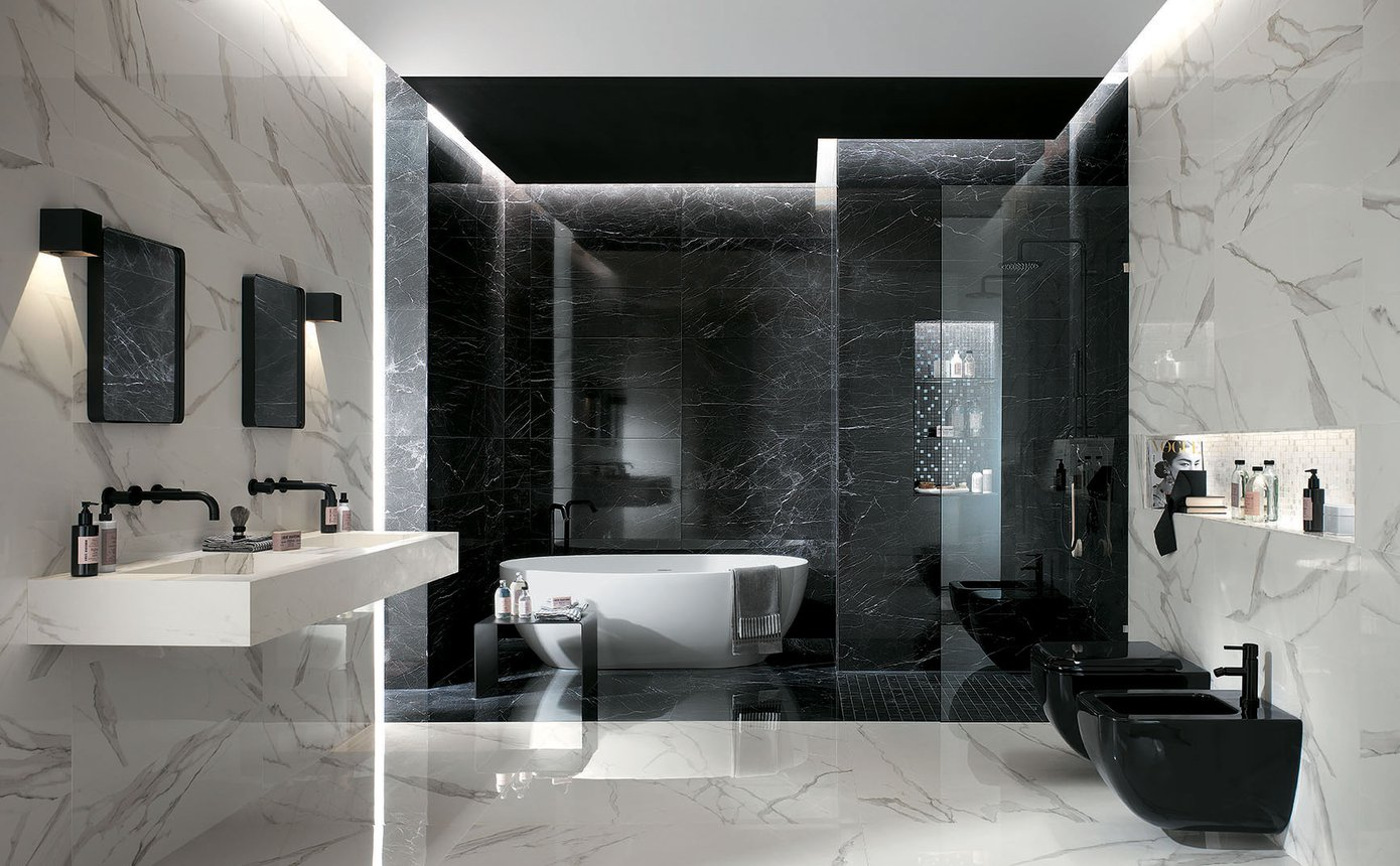 Roma Diamond Statuario Brilliante (Floor & walls) Roma Diamond Nero Reale Brilliante (Back wall) Available in sizes 600×600, 750×750, 750×1500 & 1200×1200 – Special Order